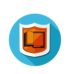 Circular shape and shield with open book vector