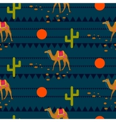 Desert camels on ethnic night blue pattern vector