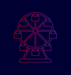 Ferris wheel sign line icon with gradient vector