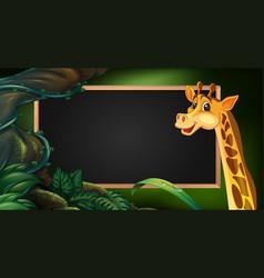 Frame template with wild giraffe vector