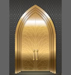 Golden door of the palace vector