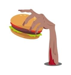 Hamburger in zombie hand flat vector