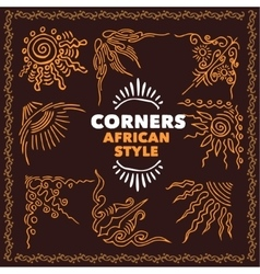Hand drawn corners african style vector