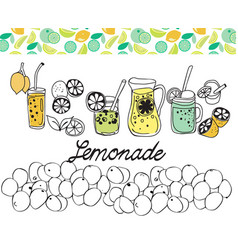 Hand drawn set of lemonade on white background vector