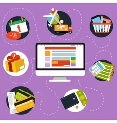 Internet shopping process and delivery vector image