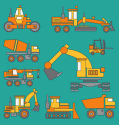 Line color icon construction machinery set vector