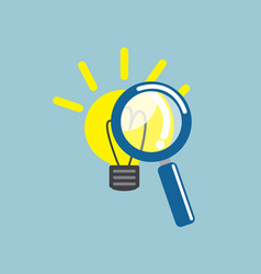 Magnifying glass with light bulb idea vector