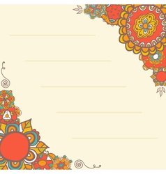 Ornamental greeting card with floral background vector image vector image