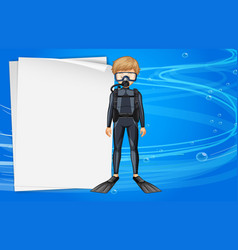 Paper template with diver in the sea vector