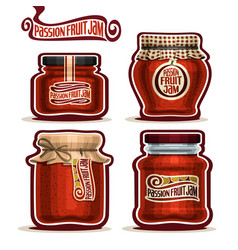 Passion fruit jam in jars vector