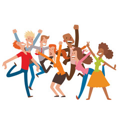 People jumping in celebration party happy vector