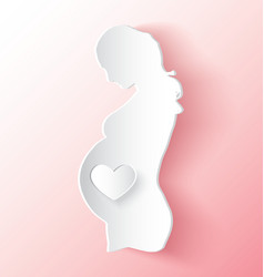Pregnant Woman With Heart Peeling Like Sticker vector image