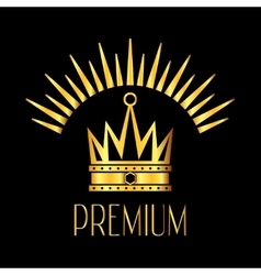 Premiun glowing crown logo in gold black vector