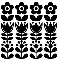 Scandinavian seamless pattern swedish folk art vector