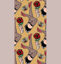 Seamless pin-up pattern with bees legs roses vector