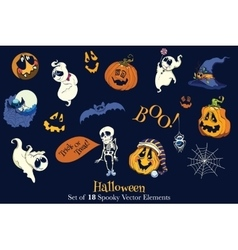 Set of 18 Halloween Funny Scarry Elements vector image