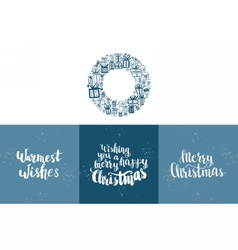 Set of winter hand drawn phrases vector image