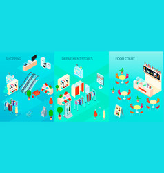shopping mall isometric banners set vector image