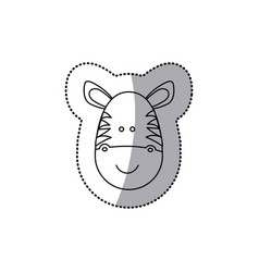 Sticker monochrome contour with male zebra head vector