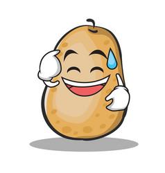 Sweat smile potato character cartoon style vector