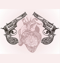 Tattoo guns with heart vector