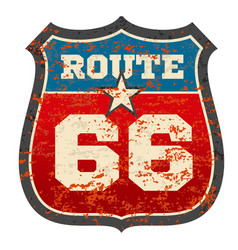 vintage route 66 road sign with grunge distressed vector image