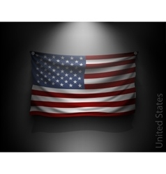 waving flag United States on a dark wall vector image vector image
