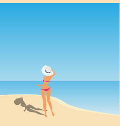 Women with hat on the beach vector