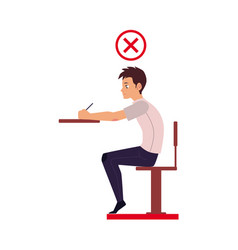young man writing in incorrect sitting position vector image