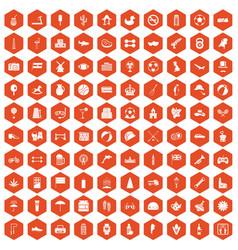 100 ball icons hexagon orange vector
