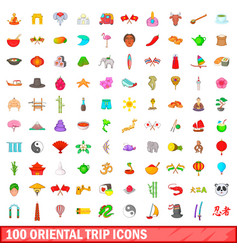 100 oriental trip icons set cartoon style vector