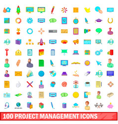 100 project management icons set cartoon style vector