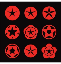 red star icon set vector image