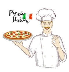 Chef holding a dish with pizza and giving an okay vector