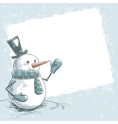 Vintage christmas card with smiling snowman vector