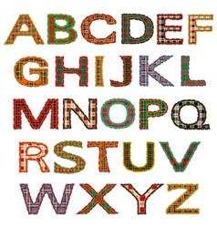 set of letters tartan vector image