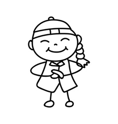 Hand drawing cartoon character happy chinese kid vector