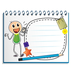 A notebook with a drawing of a boy holding a radio vector image