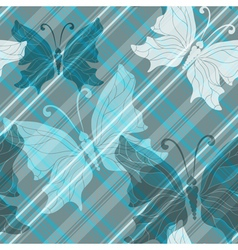pattern with diagonal strips and butterflies vector image