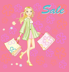 shopping girl young sexy vector image