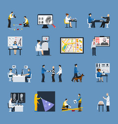 Crime investigation flat icons set vector