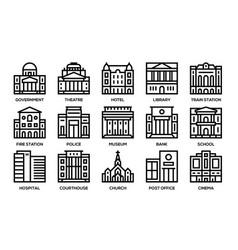 Building line icons set vector