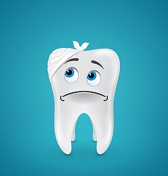 Bandaged sad tooth vector