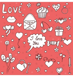 Romantic set in cartoon style vector