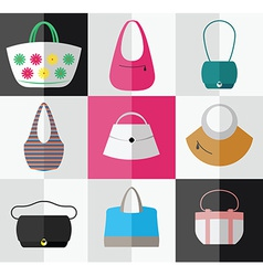 Set of flat womens bag and purse icons vector