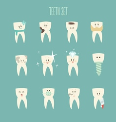 Teeth icon set concept of healthy vector