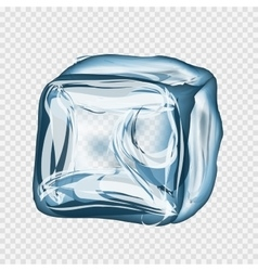 Transparent ice cube in blue colors vector
