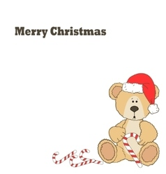 Christmas teddy bear card vector