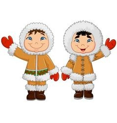 Cartoon happy eskimo kids waving hand vector