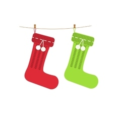 Traditional christmas knitted stocking for vector